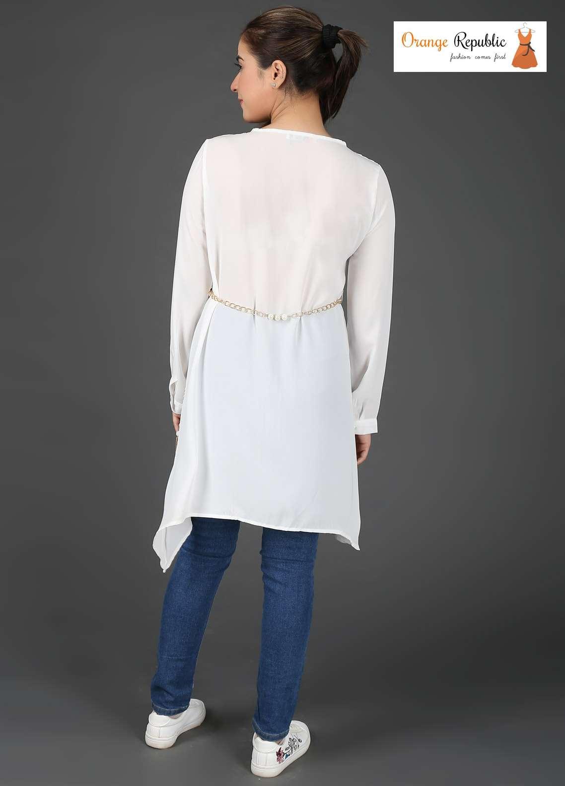 Orange Republic Fancy Style Bubble Chiffon Stitched Tops USA-09 White & Blue