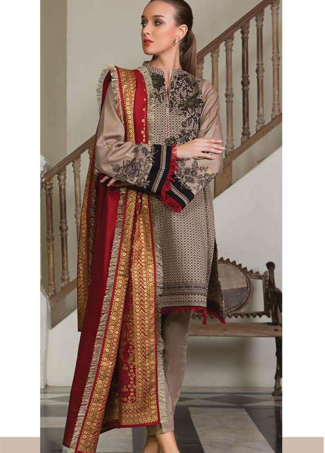 Orient Textile Embroidered Cotton Cotel Unstitched 3 Piece Suit OT18W 175A Metallica - Winter Collection