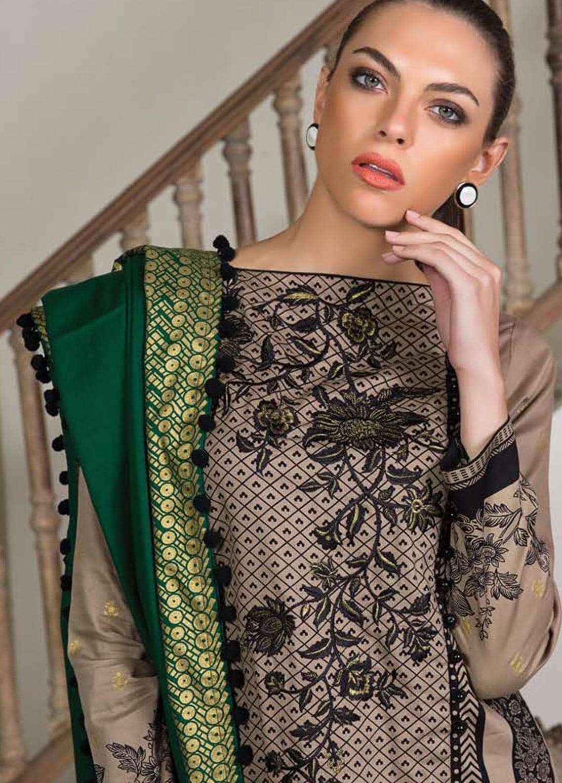 Orient Textile Embroidered Cotton Cotel Unstitched 3 Piece Suit OT18W 175B Metallica - Winter Collection