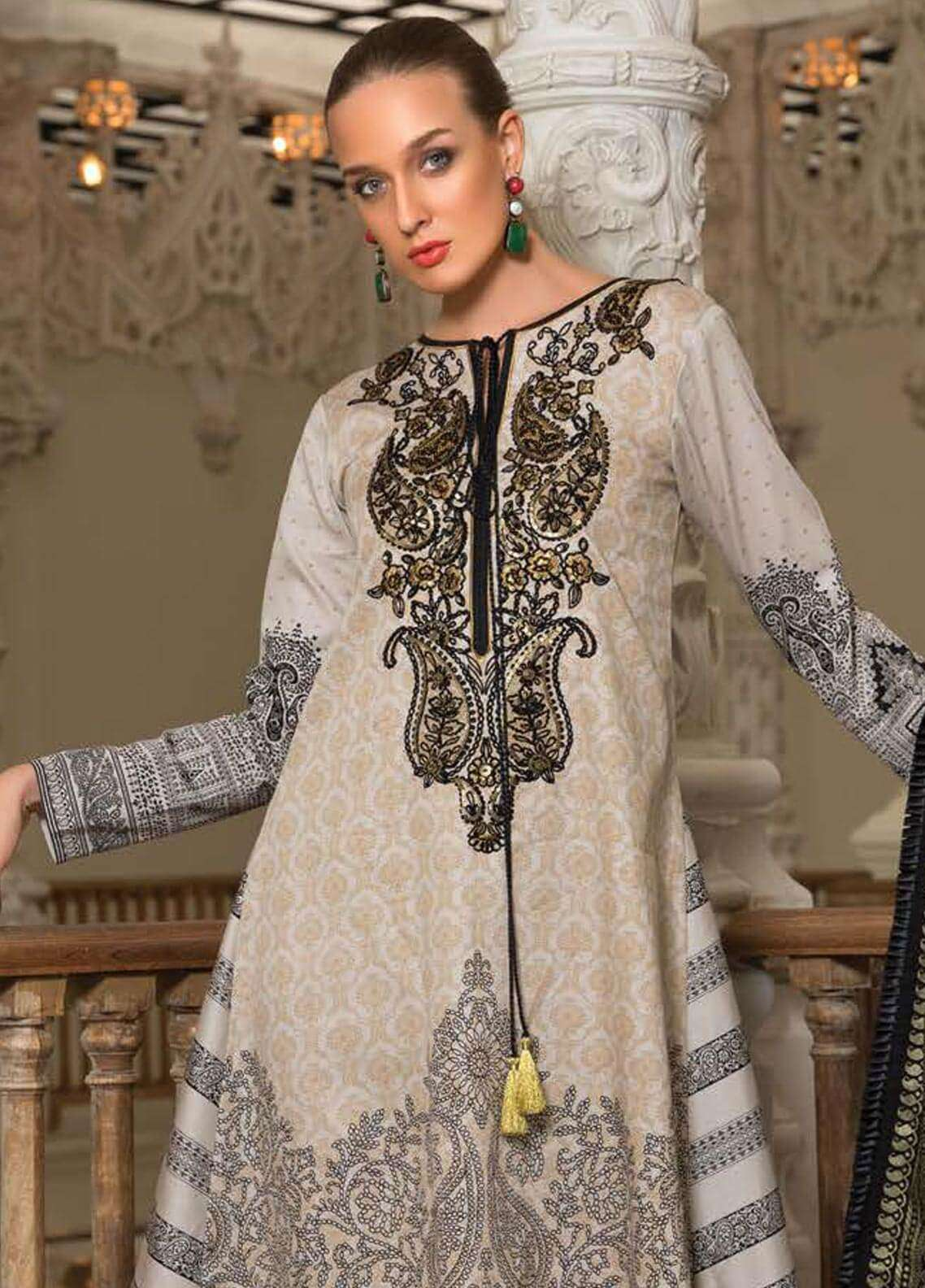 Orient Textile Embroidered Cotton Cotel Unstitched 3 Piece Suit OT18W 176A Raspberry - Winter Collection