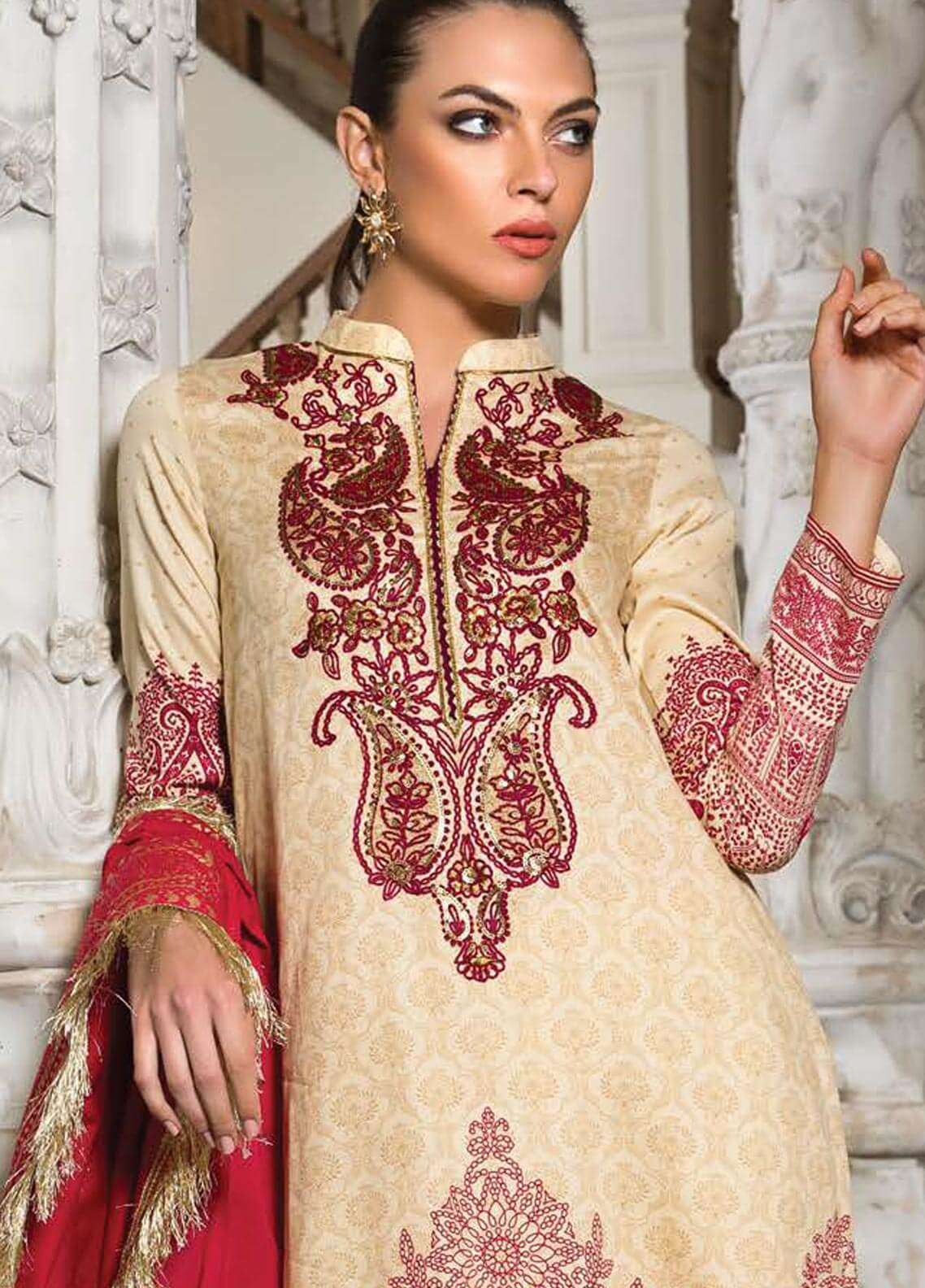Orient Textile Embroidered Cotton Cotel Unstitched 3 Piece Suit OT18W 176B Raspberry - Winter Collection