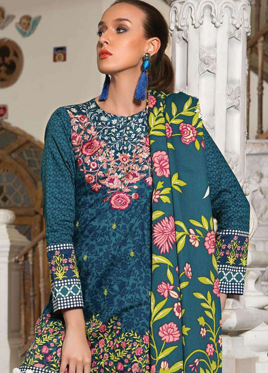 Orient Textile Embroidered Cotton Cotel Unstitched 3 Piece Suit OT18W 181A Blue Rhythm - Winter Collection