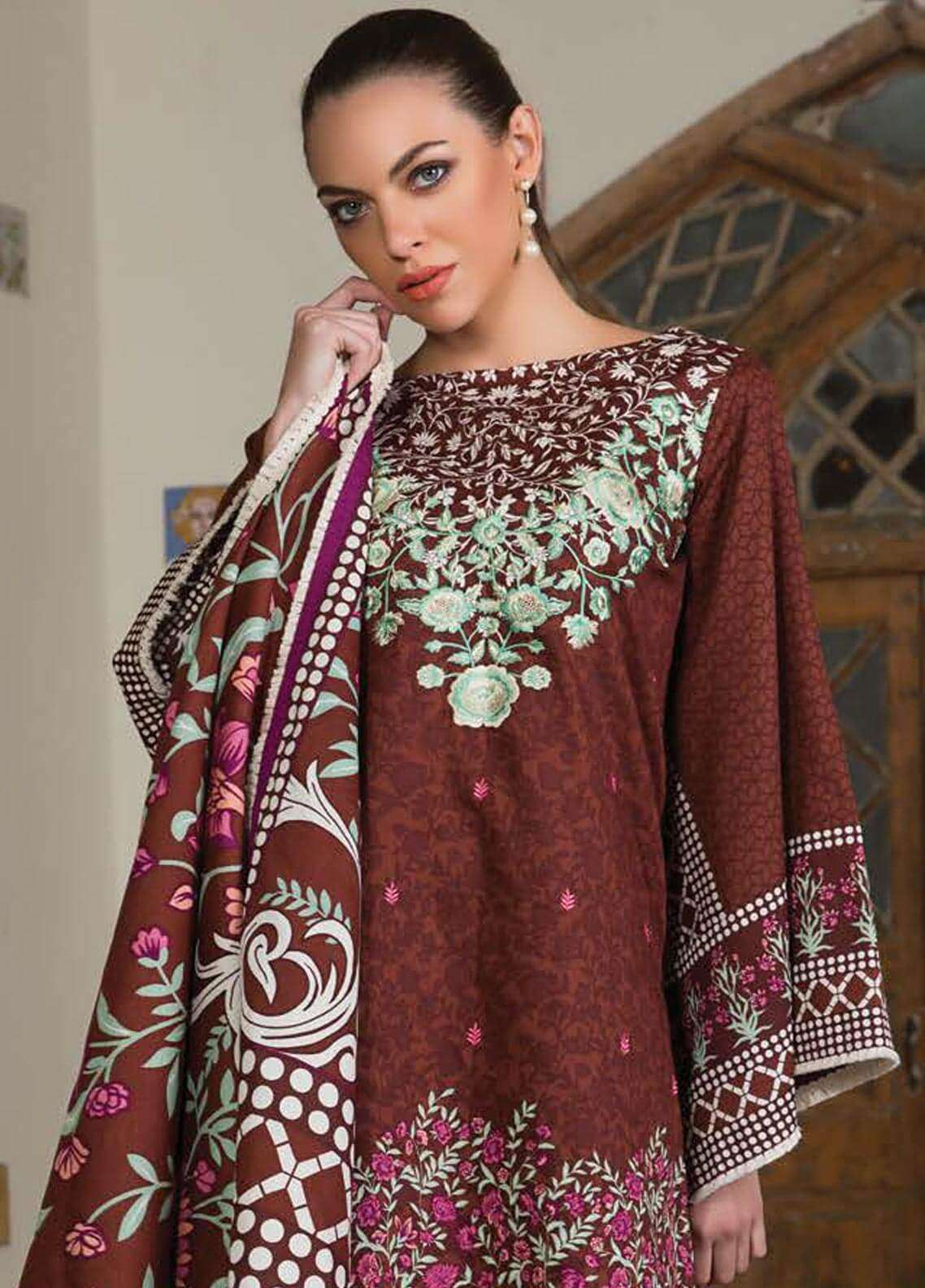 Orient Textile Embroidered Cotton Cotel Unstitched 3 Piece Suit OT18W 181B Blue Rhythm - Winter Collection