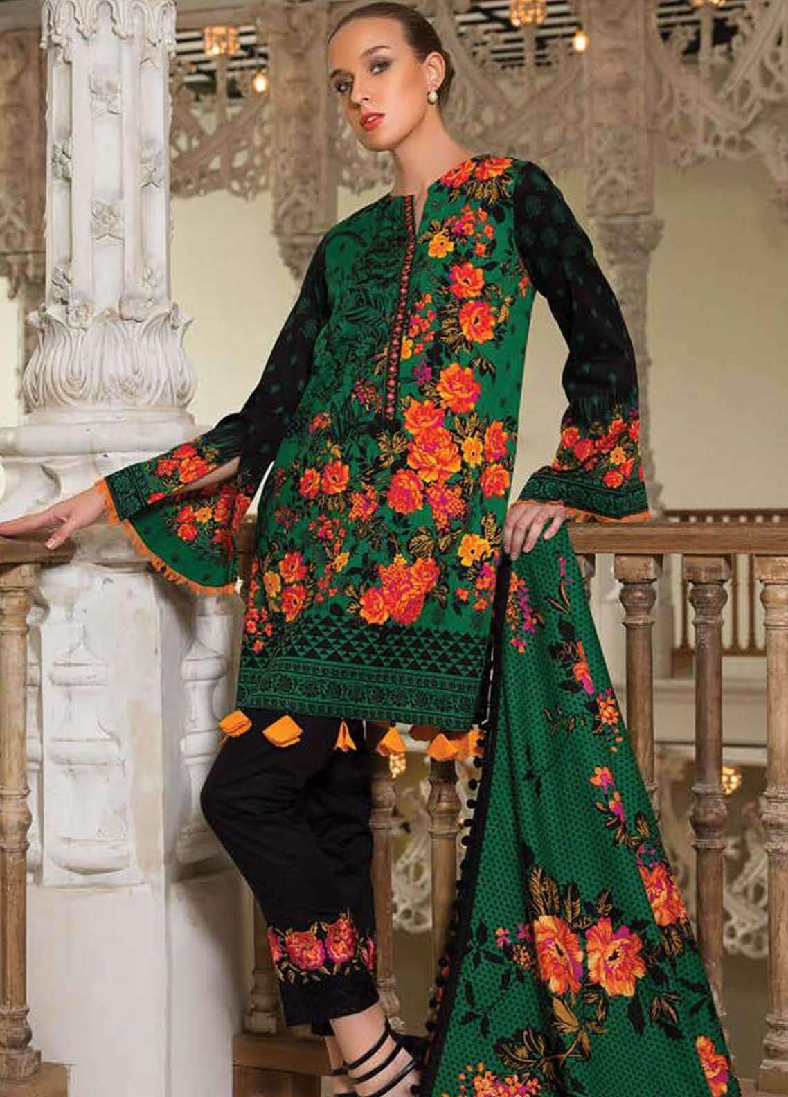 Orient Textile Embroidered Cotton Cotel Unstitched 3 Piece Suit OT18W 183A Indian Rose - Winter Collection