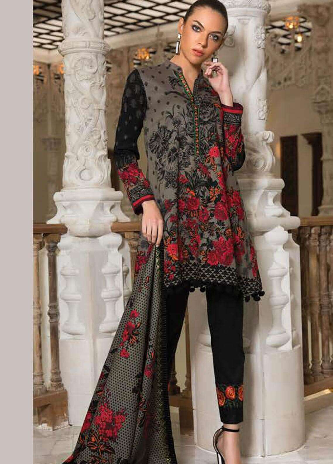 Orient Textile Embroidered Cotton Cotel Unstitched 3 Piece Suit OT18W 183B Indian Rose - Winter Collection