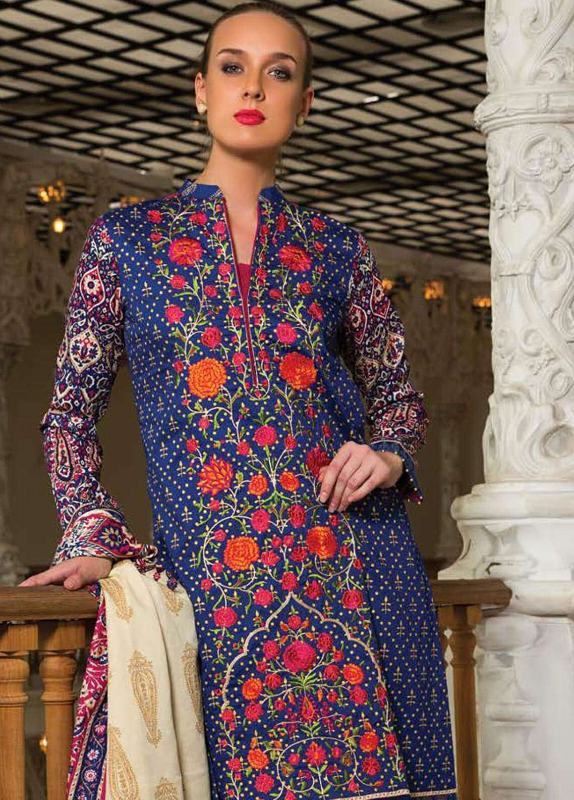 Orient Textile Embroidered Cotton Cotel Unstitched 3 Piece Suit OT18W 195A Irani - Winter Collection