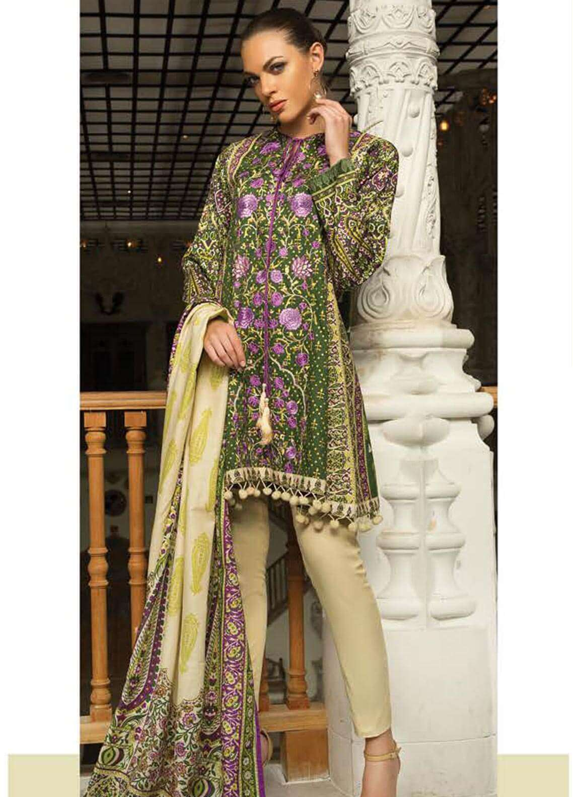 Orient Textile Embroidered Cotton Cotel Unstitched 3 Piece Suit OT18W 195B Irani - Winter Collection