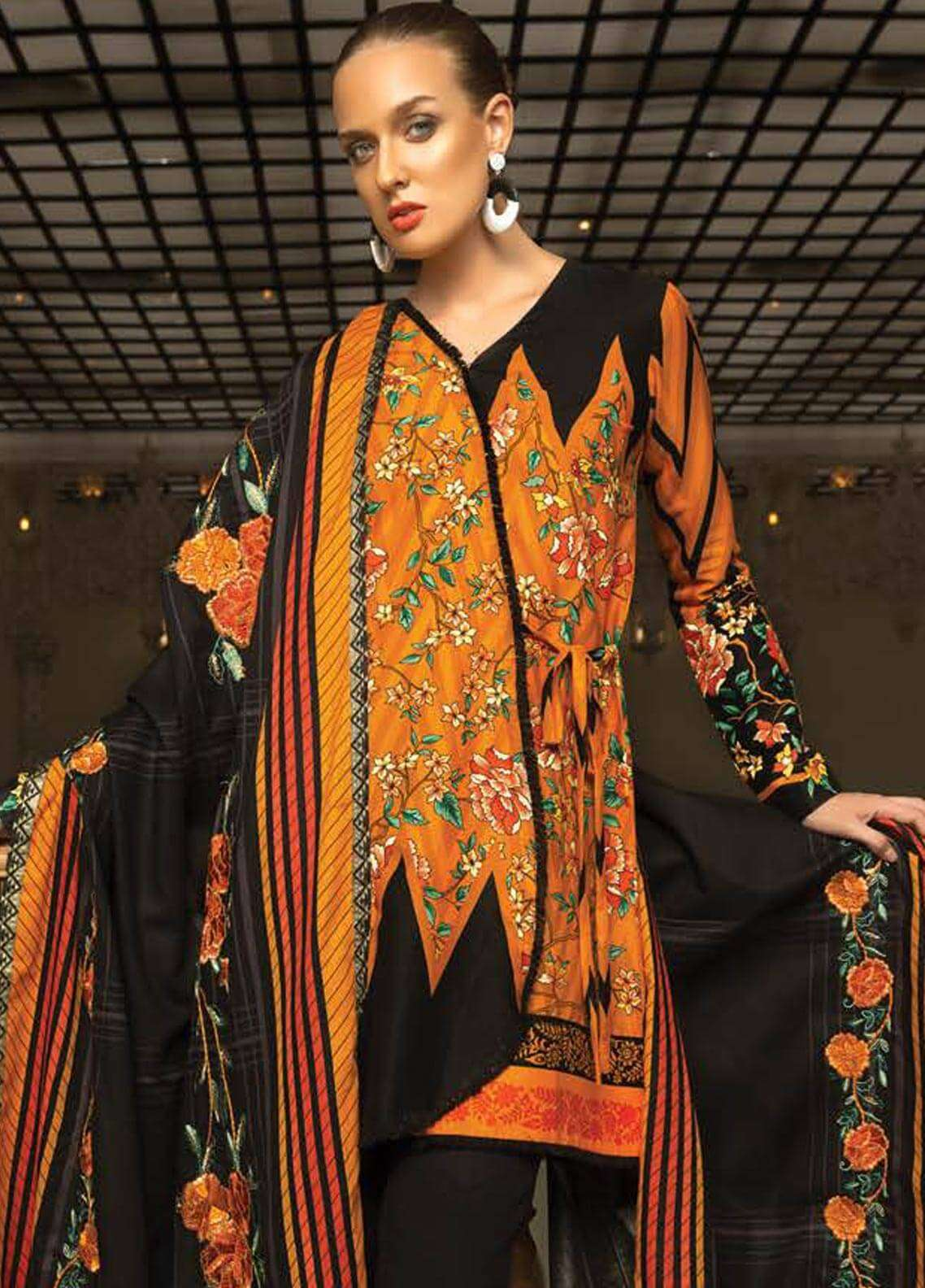 Orient Textile Embroidered Cotton Cotel Unstitched 3 Piece Suit OT18W 218A Sun Ray - Winter Collection