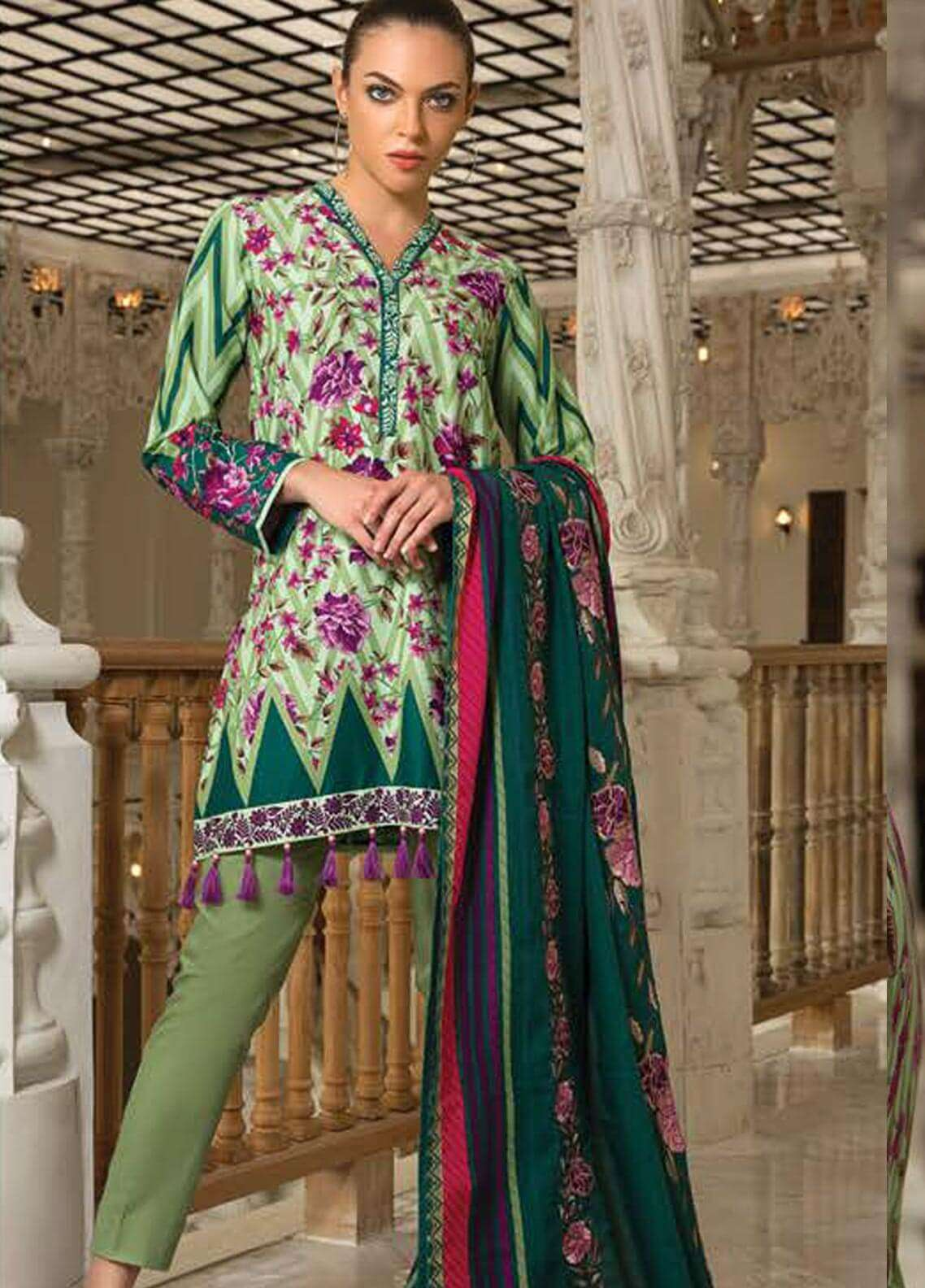 Orient Textile Embroidered Cotton Cotel Unstitched 3 Piece Suit OT18W 218B Sun Ray - Winter Collection