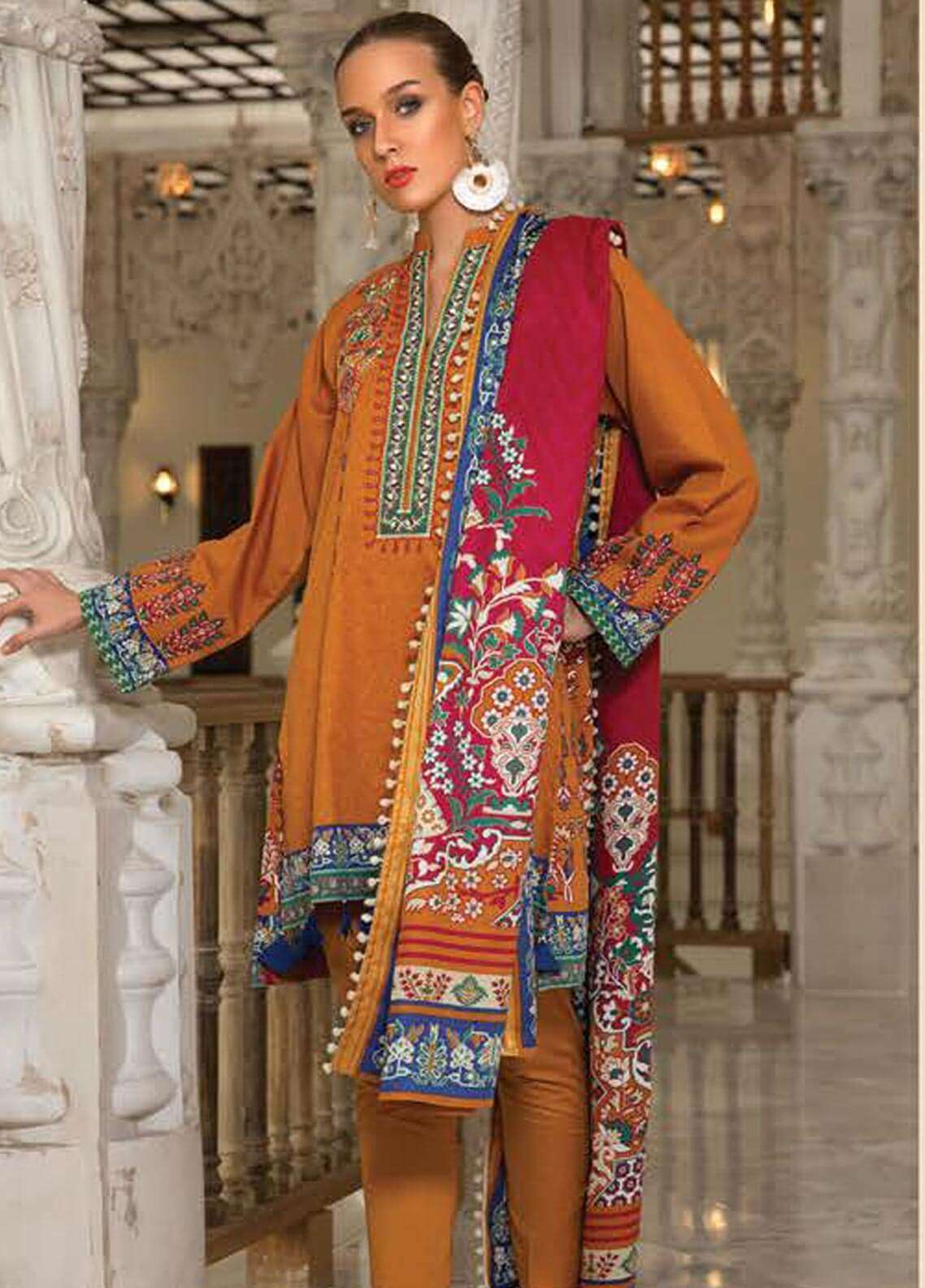 Orient Textile Embroidered Cotton Cotel Unstitched 3 Piece Suit OT18W 237A Italia - Winter Collection