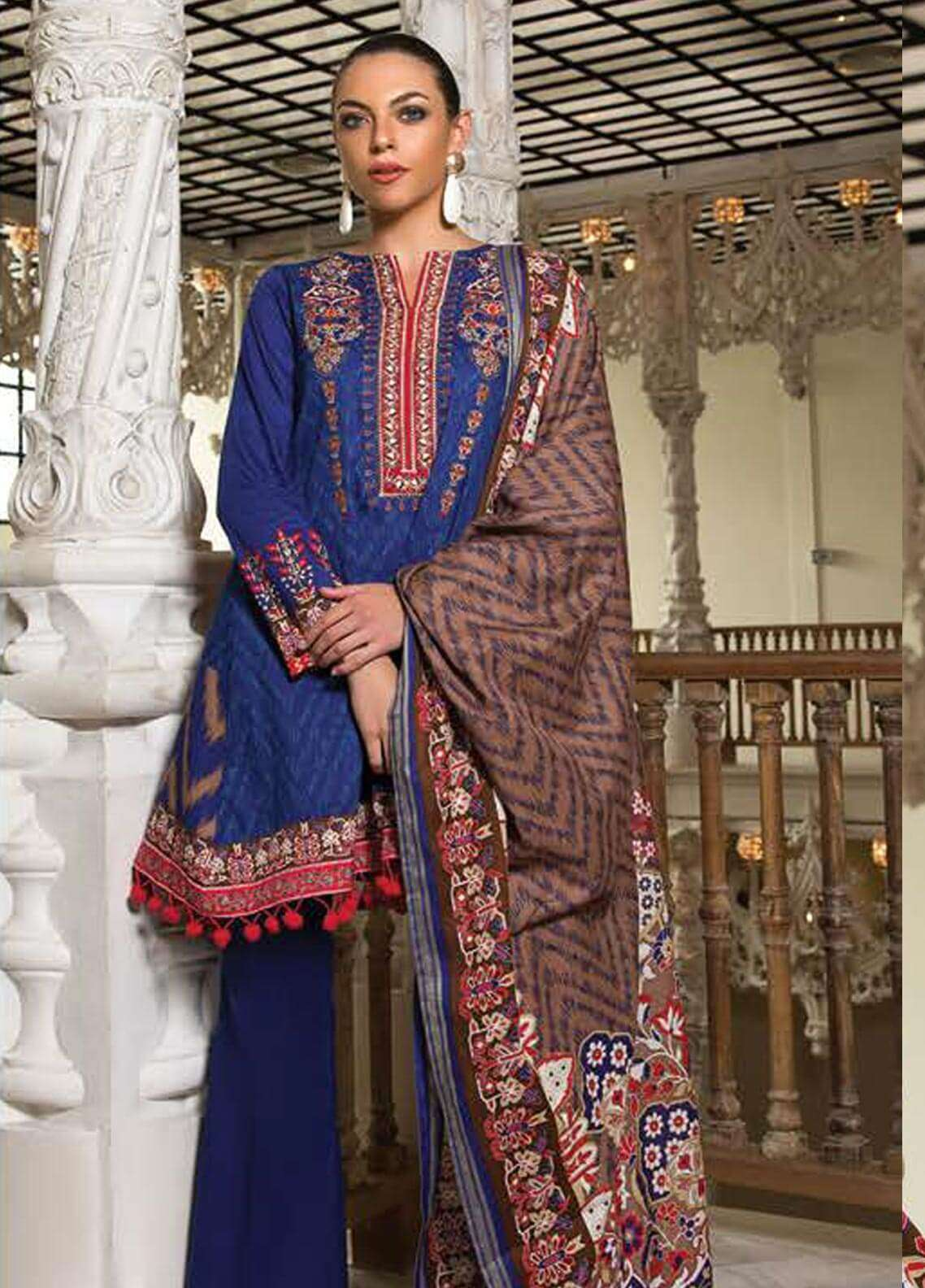 Orient Textile Embroidered Cotton Cotel Unstitched 3 Piece Suit OT18W 237B Italia - Winter Collection