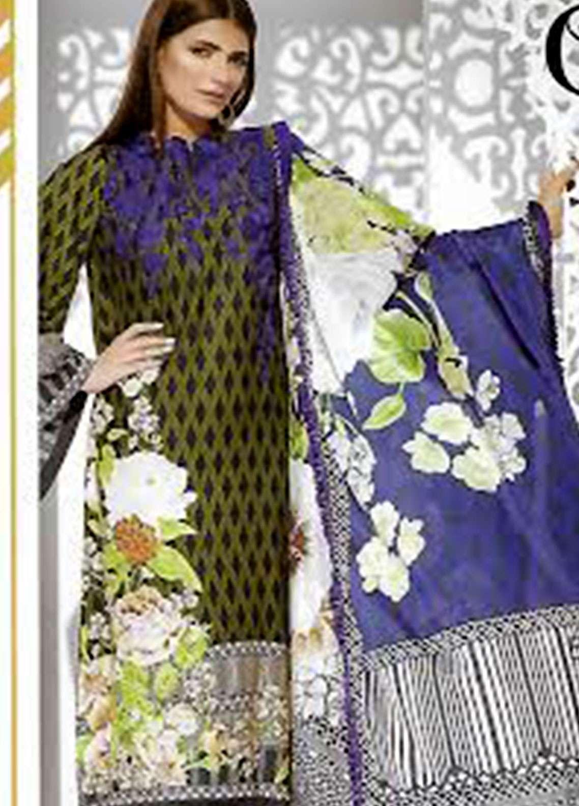Orient Textile Embroidered linen Unstitched 3 Piece Suit OT18W 246A Winter Breeze - Winter Collection