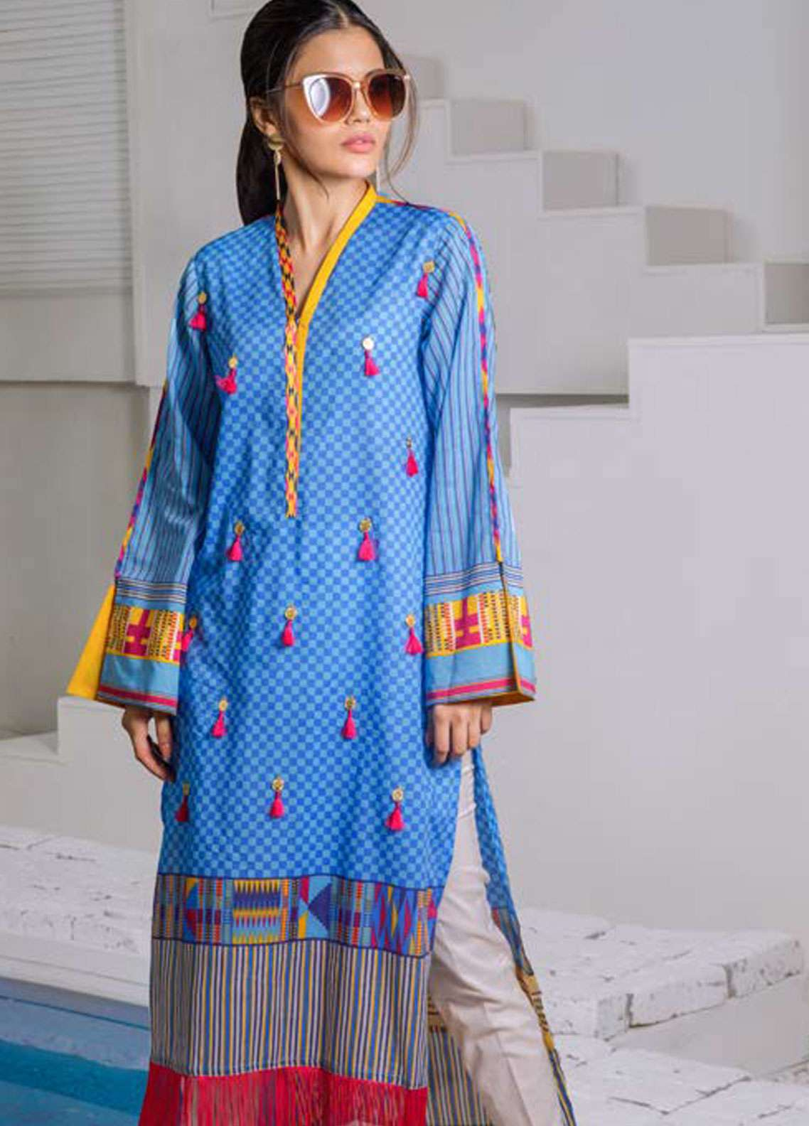 Orient Textile Embroidered Lawn Unstitched Kurties OT19-L2 111 B - Spring / Summer Collection