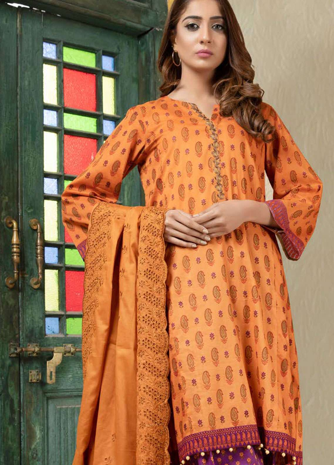 Orient Textile Embroidered Lawn Unstitched 3 Piece Suit OT19L 089 Mughal A - Spring / Summer Collection
