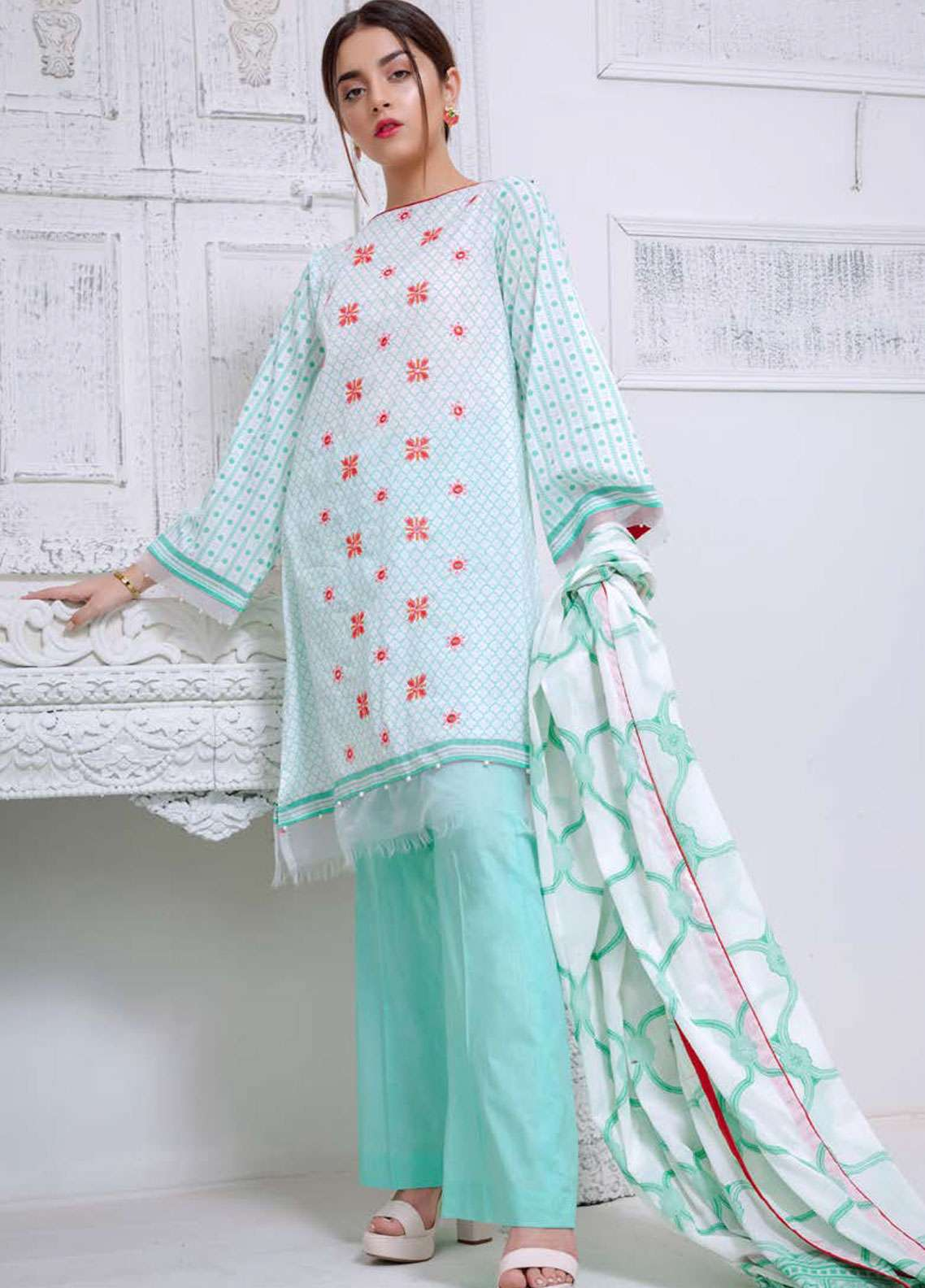 Orient Textile Embroidered Lawn Unstitched 3 Piece Suit OT19L 097 Jall Danier A - Spring / Summer Collection