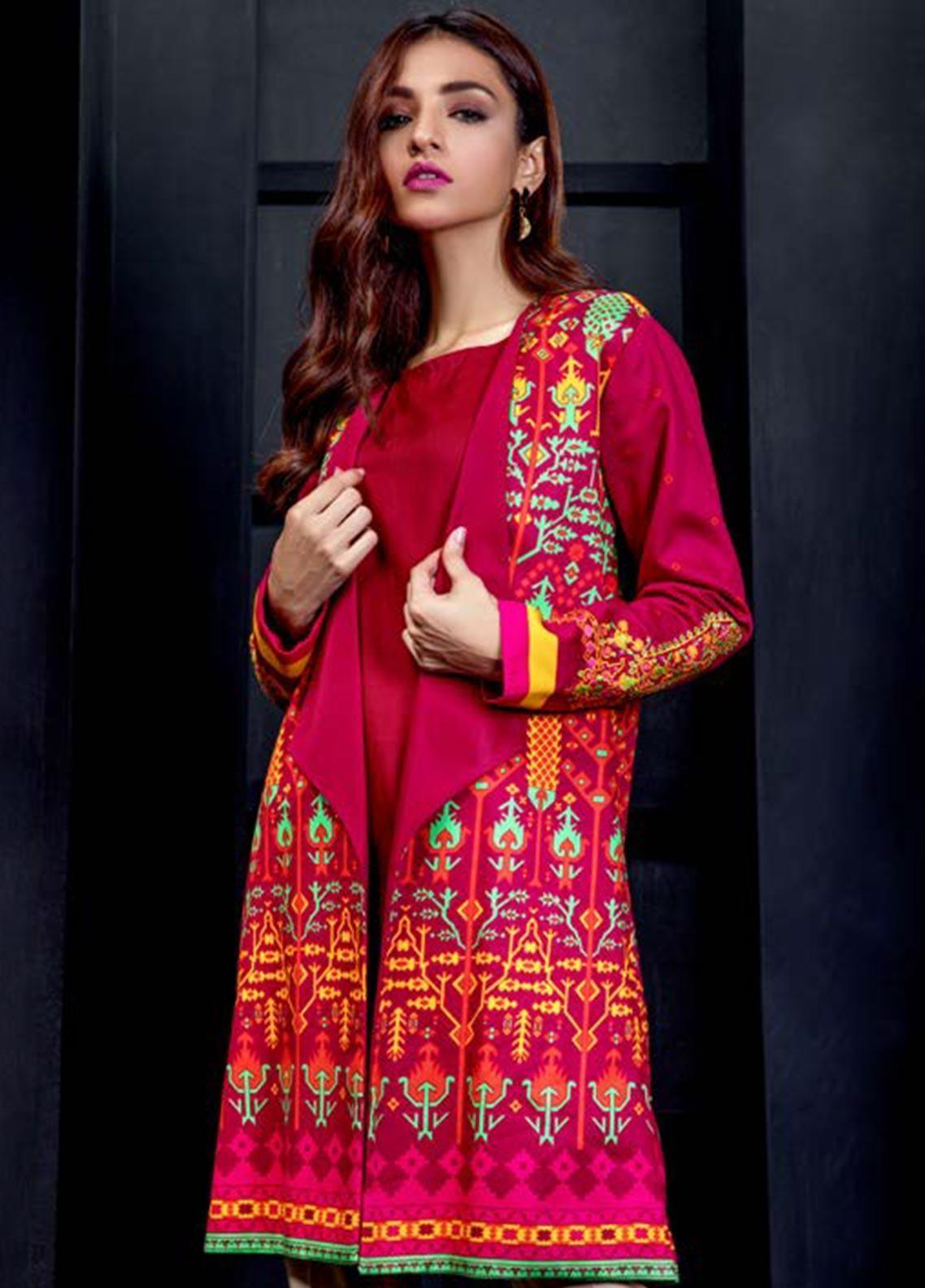 Orient Textile Embroidered Cottel Linen Unstitched Kurties OT19W 156 ETHNIC TWIST B - Winter Collection