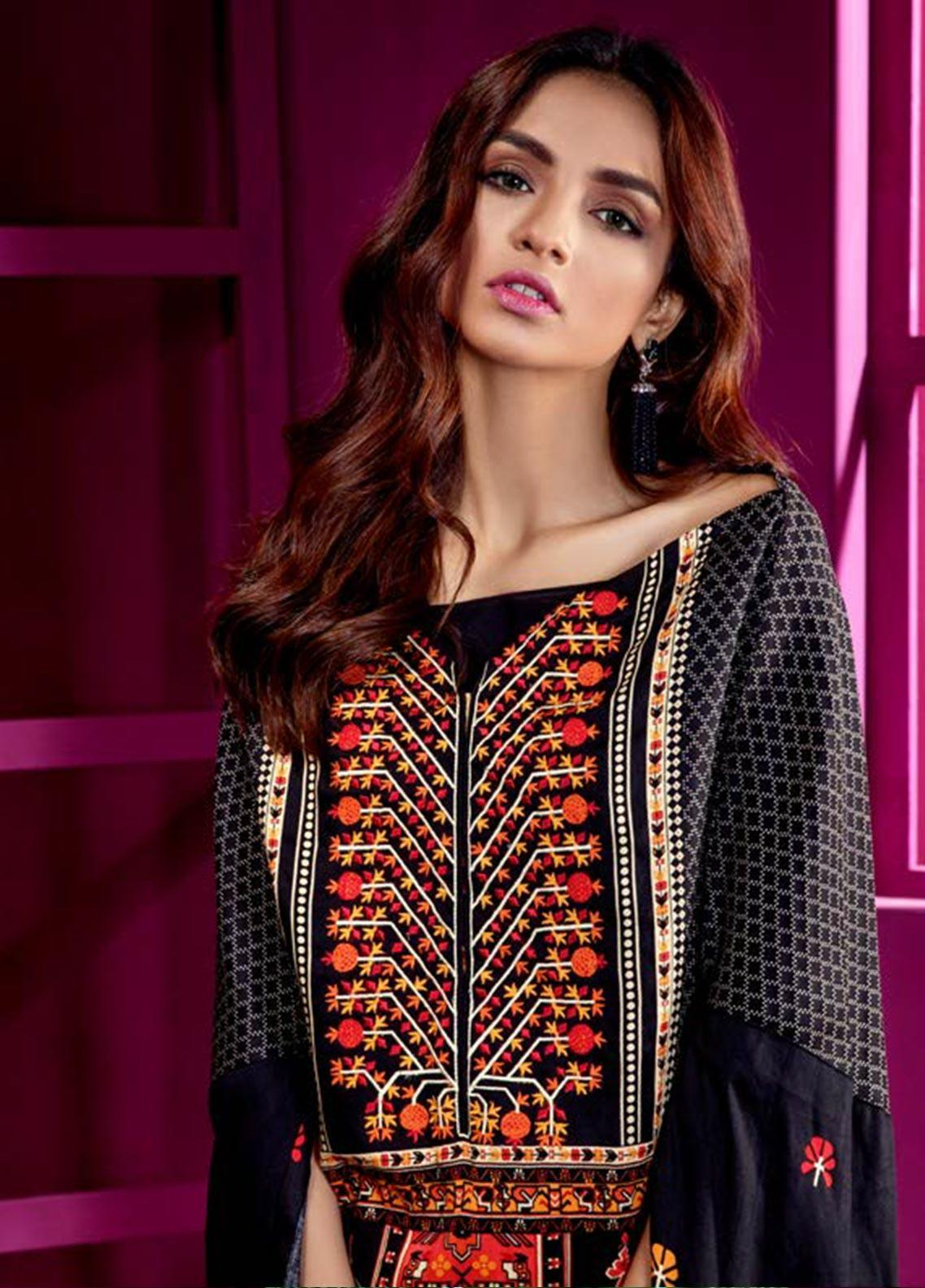 Orient Textile Embroidered Cottel Linen Unstitched Kurties OT19W 177 CARPET STORY B - Winter Collection