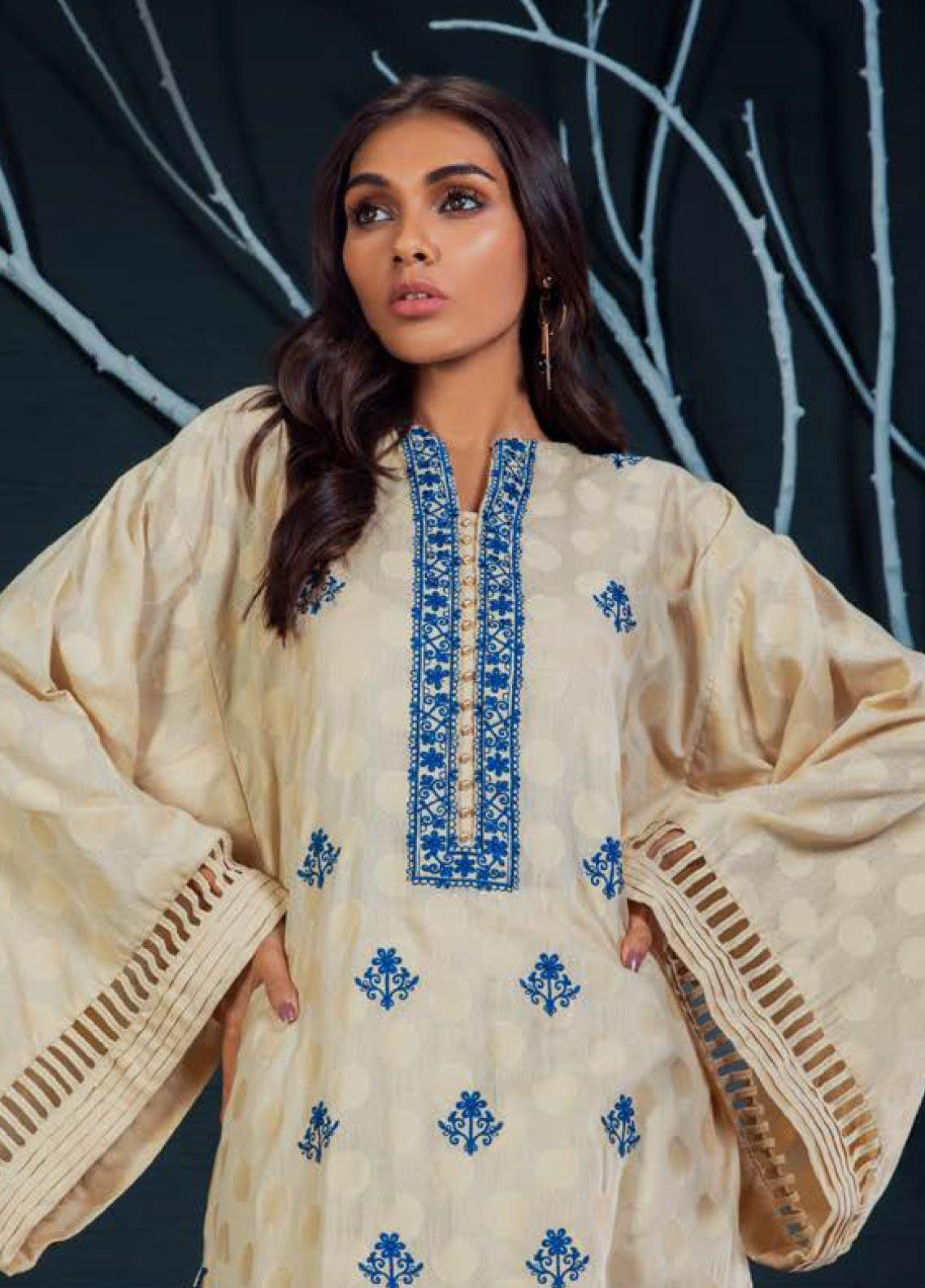 Orient Textile Embroidered Karandi Unstitched Kurties OT19W 228 COLOR POP A - Winter Collection