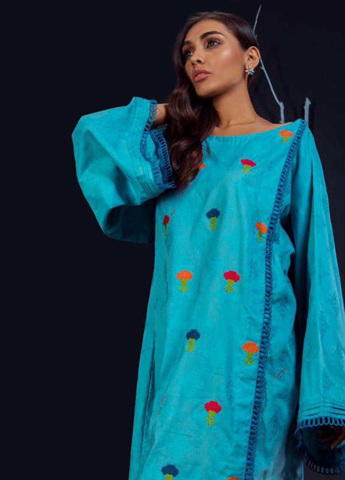 Orient Textile Embroidered Karandi Unstitched Kurties OT19W 231 STEEL B - Winter Collection