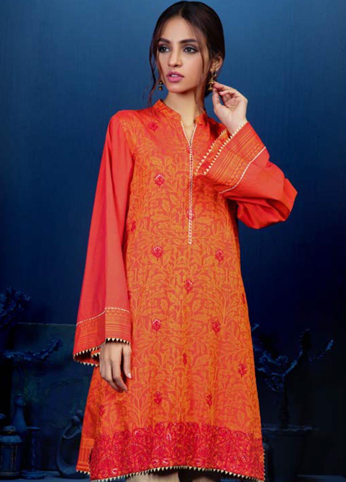 Orient Textile Embroidered Linen Unstitched Kurties OT19W 234 MOLTEN LAVA B - Winter Collection