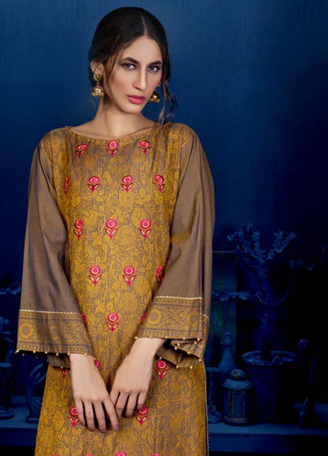 Orient Textile Embroidered Linen Unstitched Kurties OT19W 235 GRAPHITE B - Winter Collection