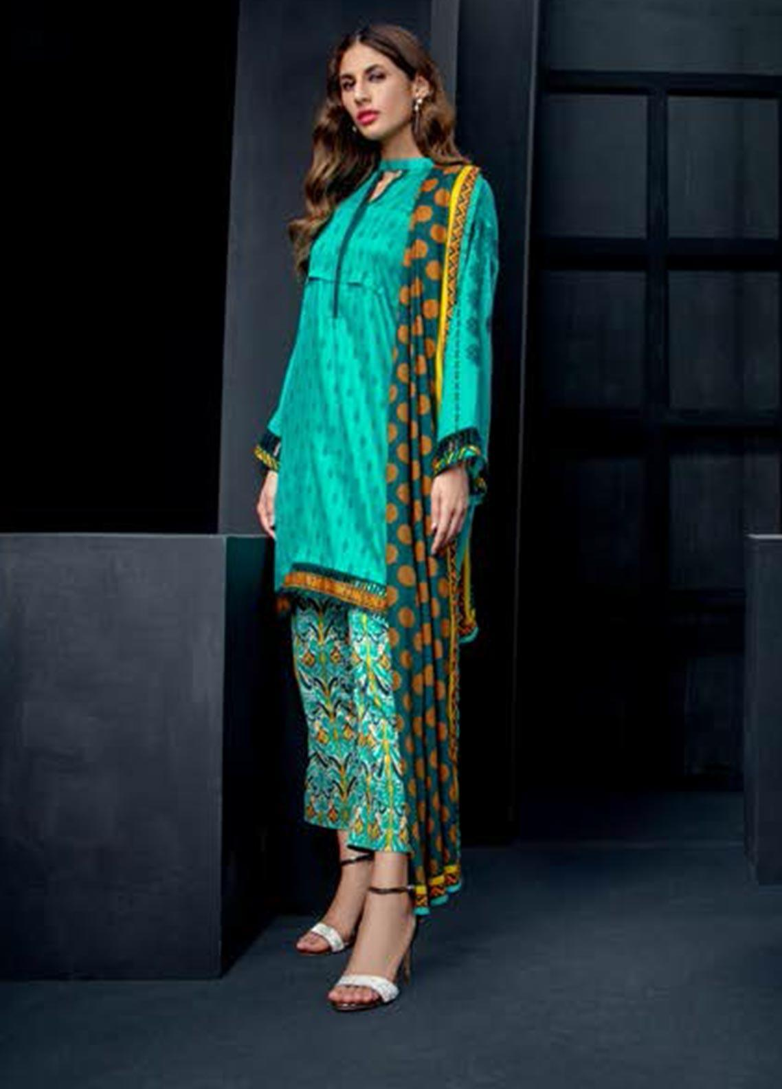 Orient Textile Embroidered Cottel Linen Unstitched 3 Piece Suit OT19-W2 203 A - Winter Collection