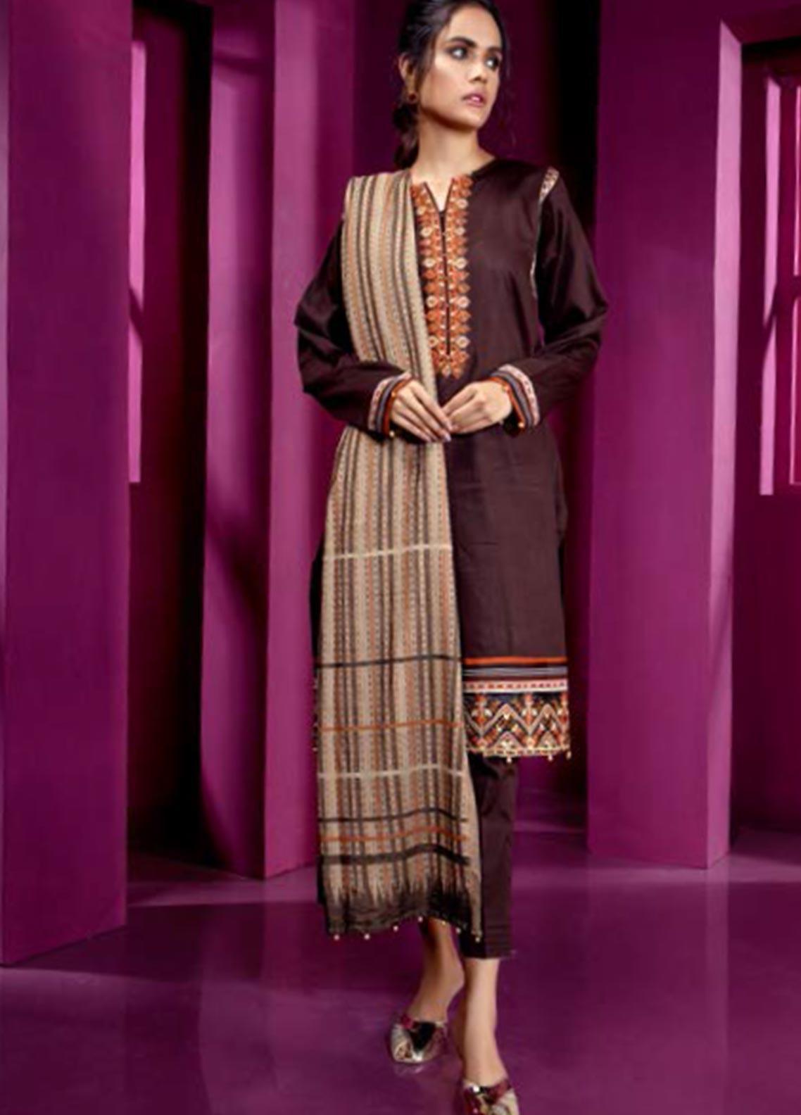 Orient Textile Embroidered Cottel Linen Unstitched 3 Piece Suit OT19-W2 246 B - Winter Collection