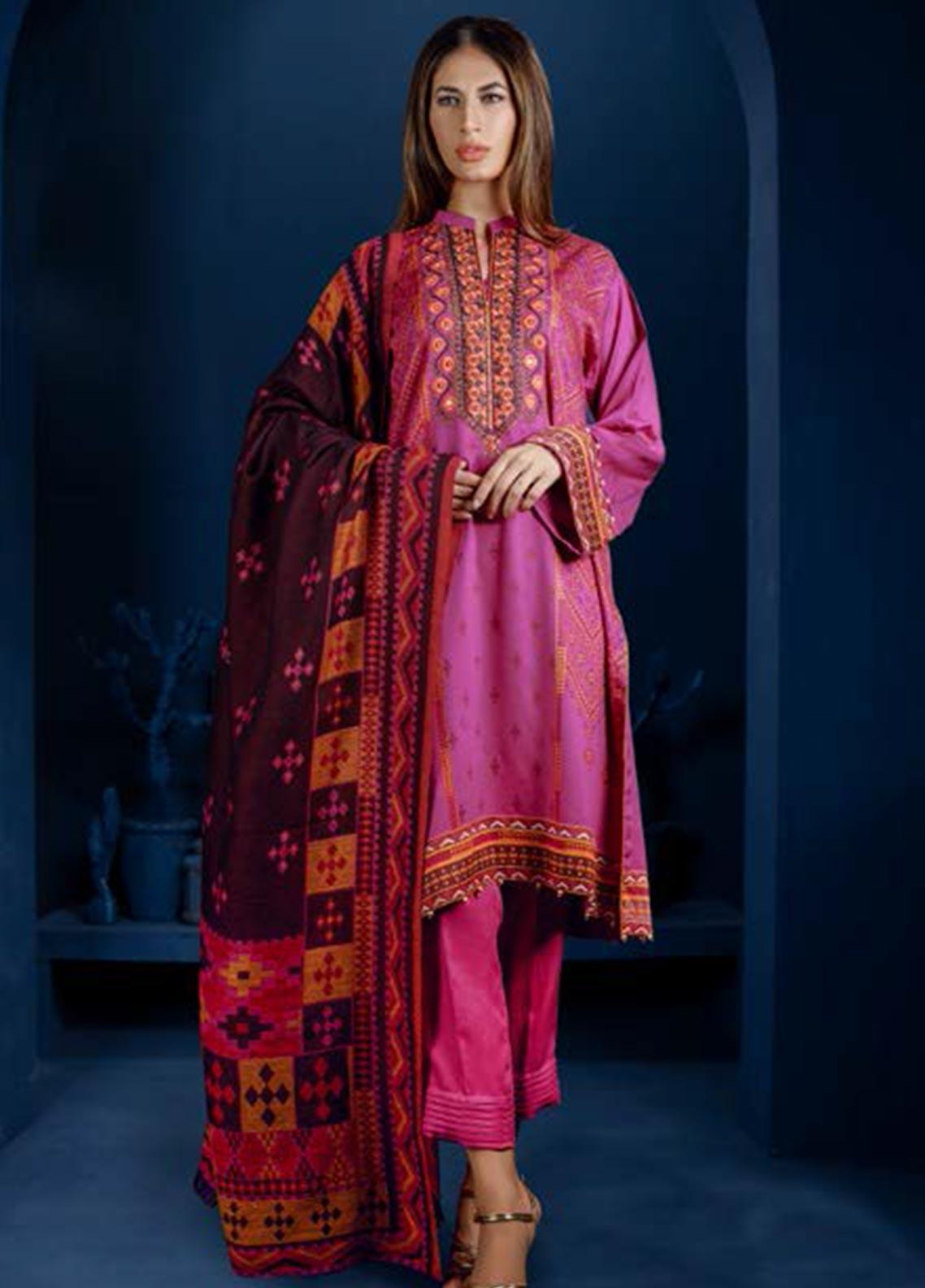 Orient Textile Embroidered Cottel Linen Unstitched 3 Piece Suit OT19-W2 247 A - Winter Collection