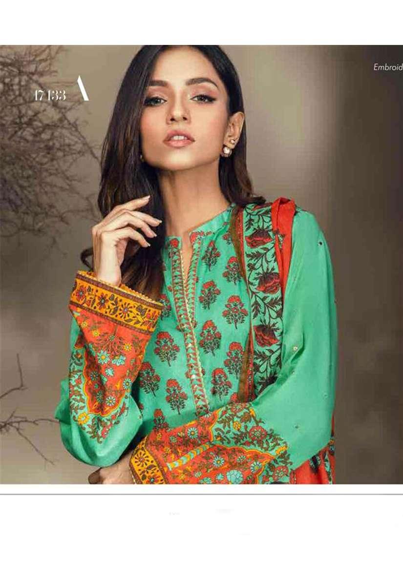 Orient Textile Embroidered Cottle Linen Unstitched 3 Piece Suit OT17W 133A