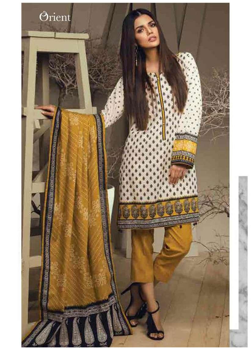 Orient Textile Embroidered Cottle Linen Unstitched 3 Piece Suit OT17W 167B