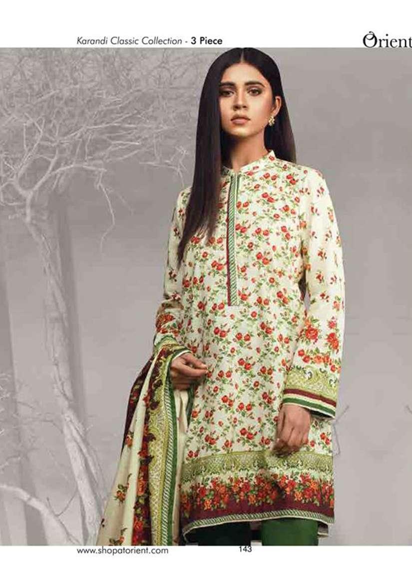 Orient Textile Embroidered Cottle Linen Unstitched 3 Piece Suit OT17W 196B