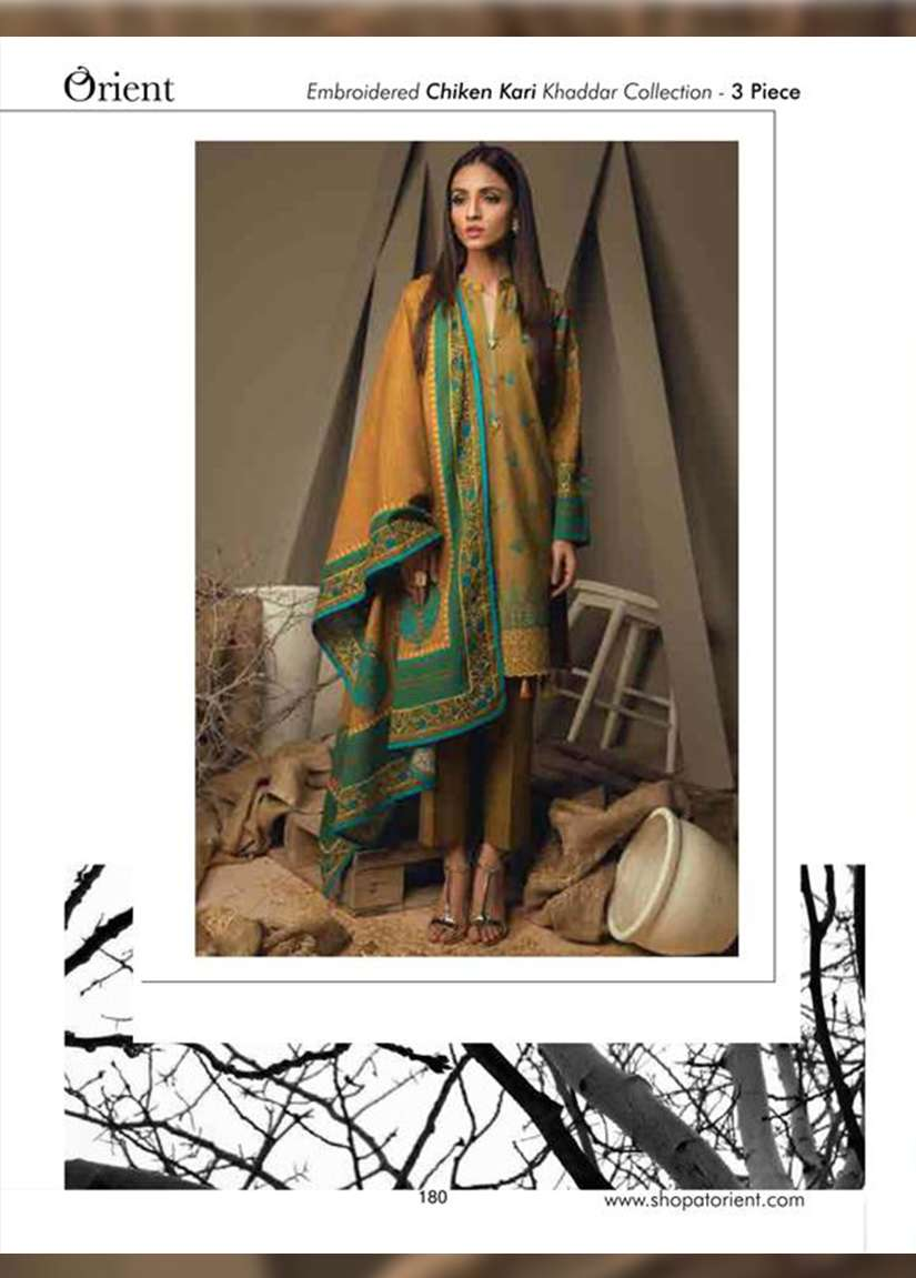 Orient Textile Embroidered Cottle Linen Unstitched 3 Piece Suit OT17W 219A