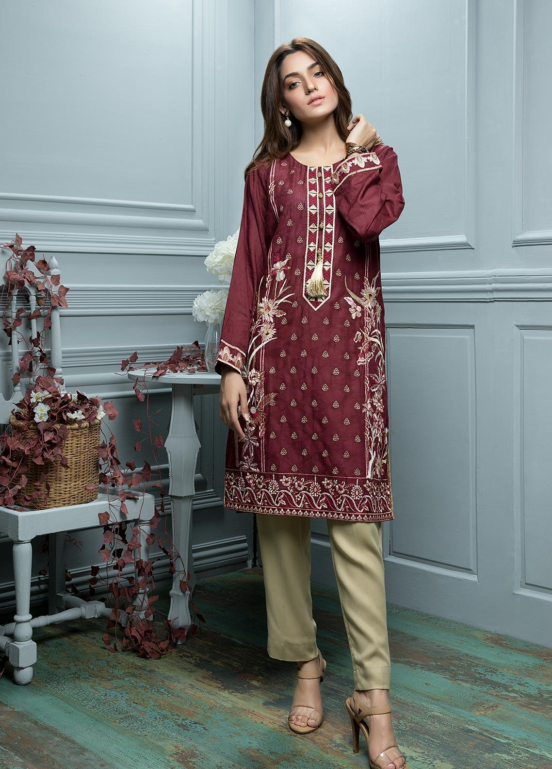 Oture Embroidered  Stitched Kurtis OJES2191046