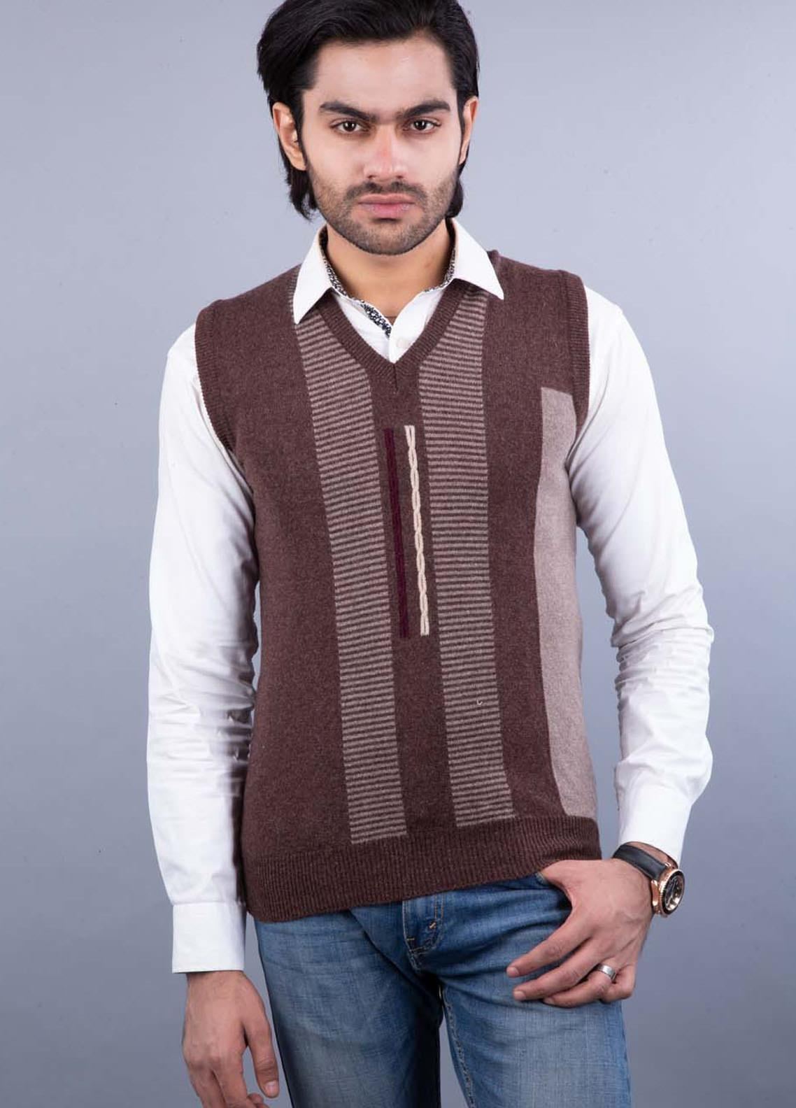 Oxford Lambswool Sleeveless Sweaters for Men -  505 LMB S-L D BROWN