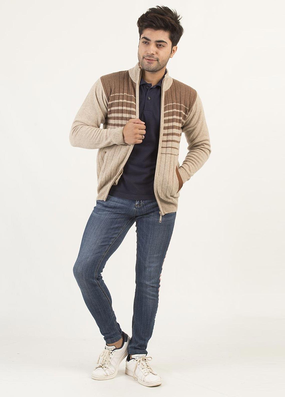 Oxford Woollen Full Sleeves Zipper for Men -  402 NATURAL