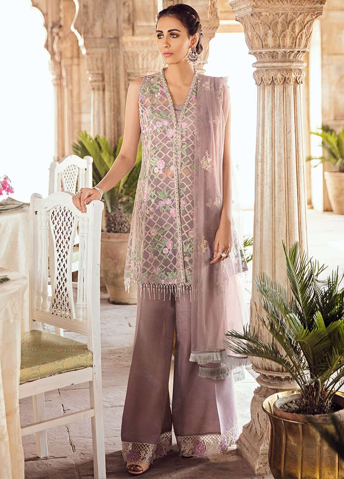 Panache Embroidered Organza Unstitched 3 Piece Suit PN18VM 02 SHABAAB - Luxury Collection