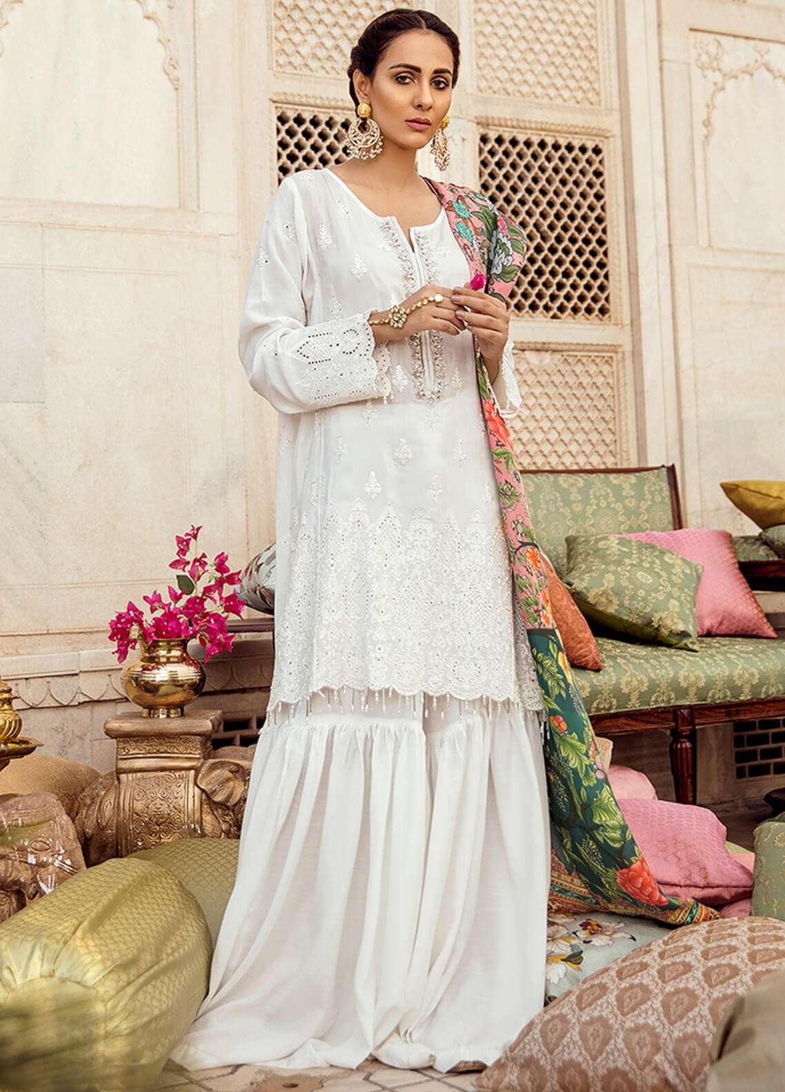 Panache Embroidered Schiffli Unstitched 3 Piece Suit PN18VM 03 GUL BAHAR - Luxury Collection