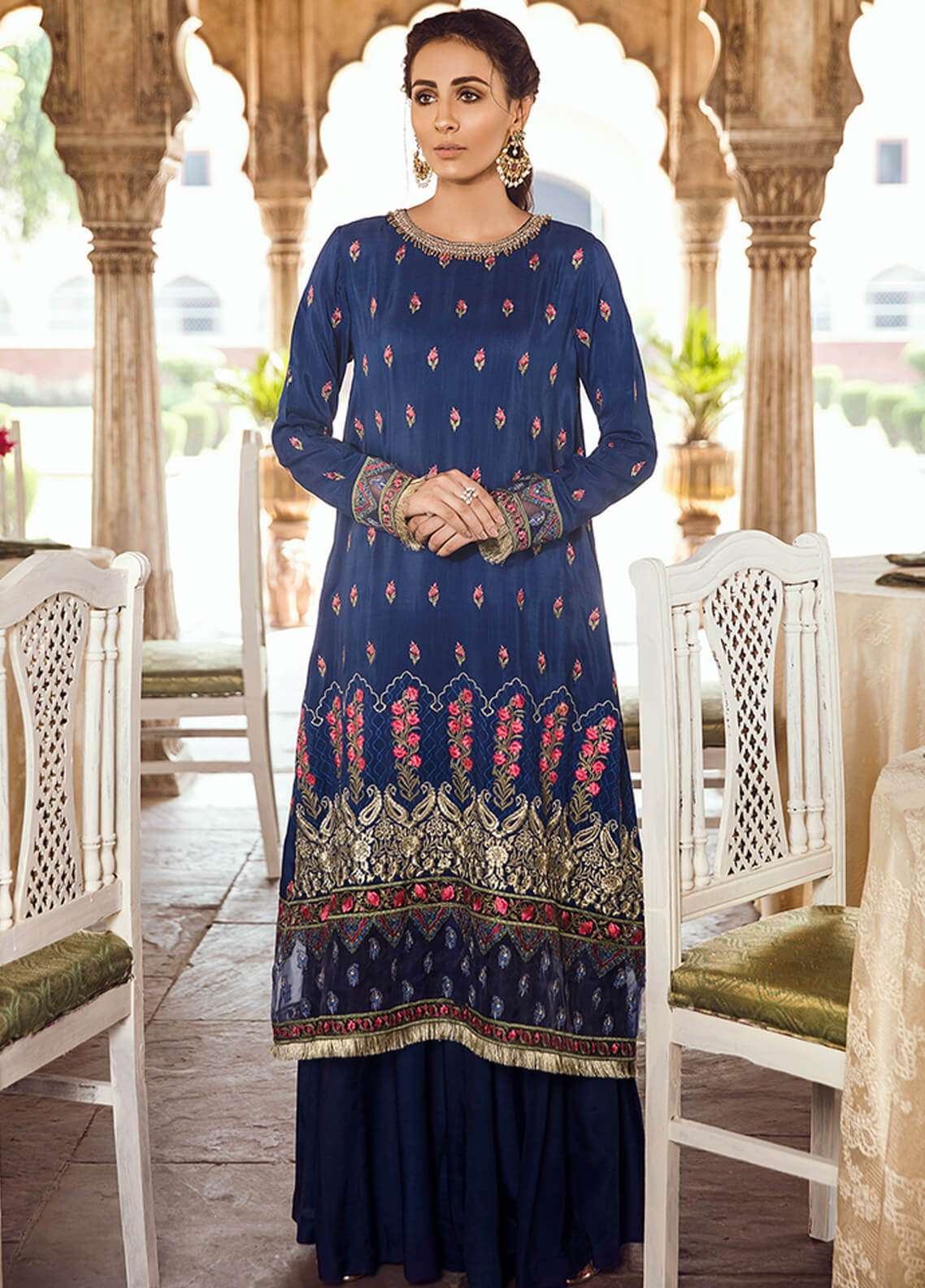 Panache Embroidered Raw Silk Unstitched 3 Piece Suit PN18VM 06 AFAAQ - Luxury Collection