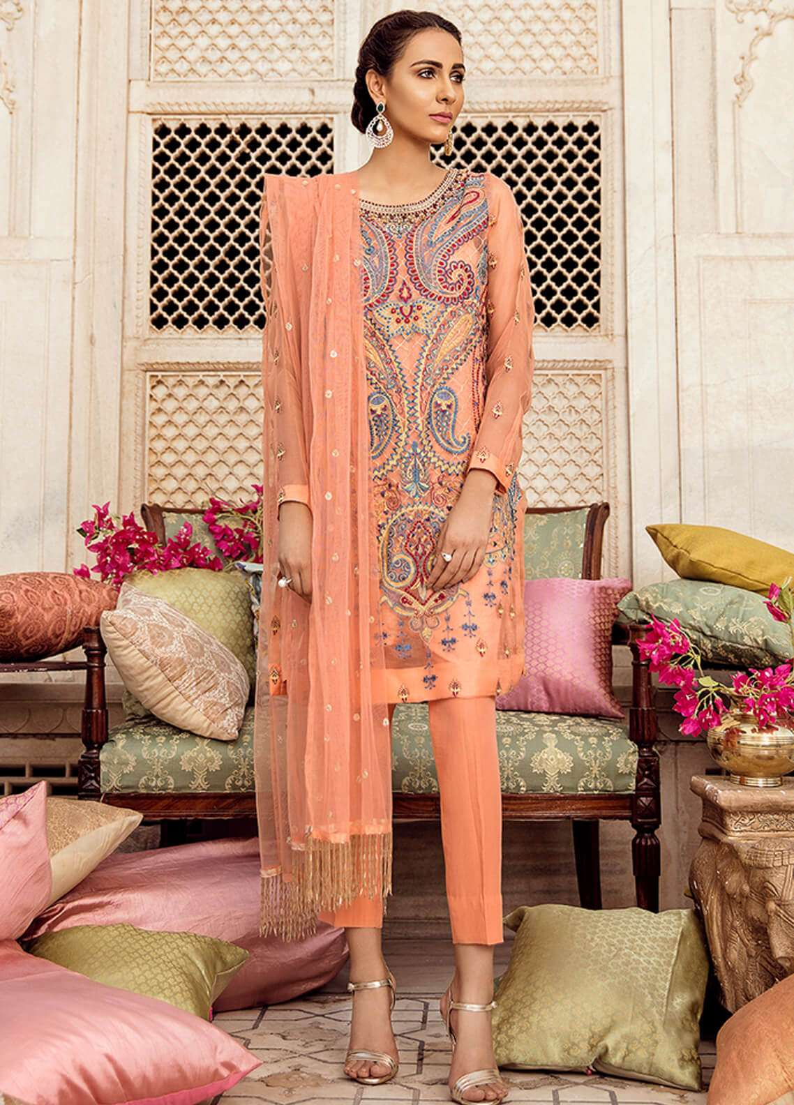 Panache Embroidered Organza Unstitched 3 Piece Suit PN18VM 08 QAASID E LUTF - Luxury Collection