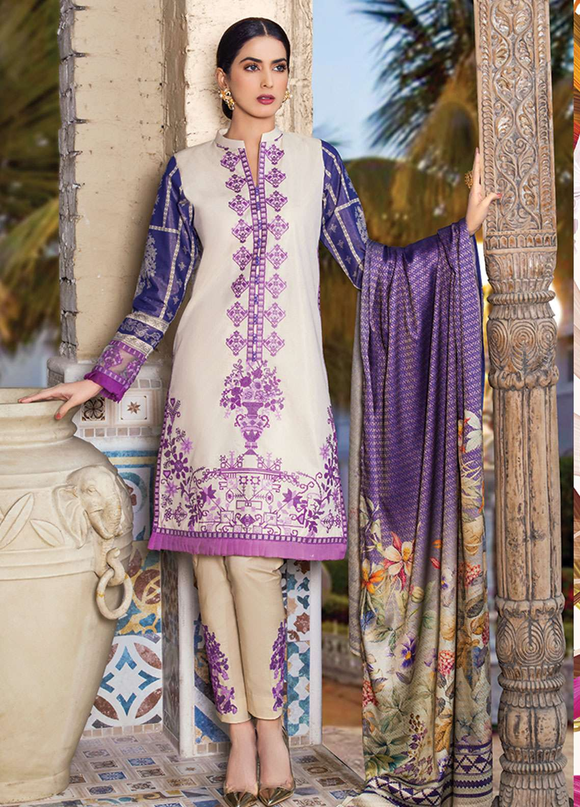 Panache Embroidered Lawn Unstitched 3 Piece Suit PND19L 6 - Spring / Summer Collection