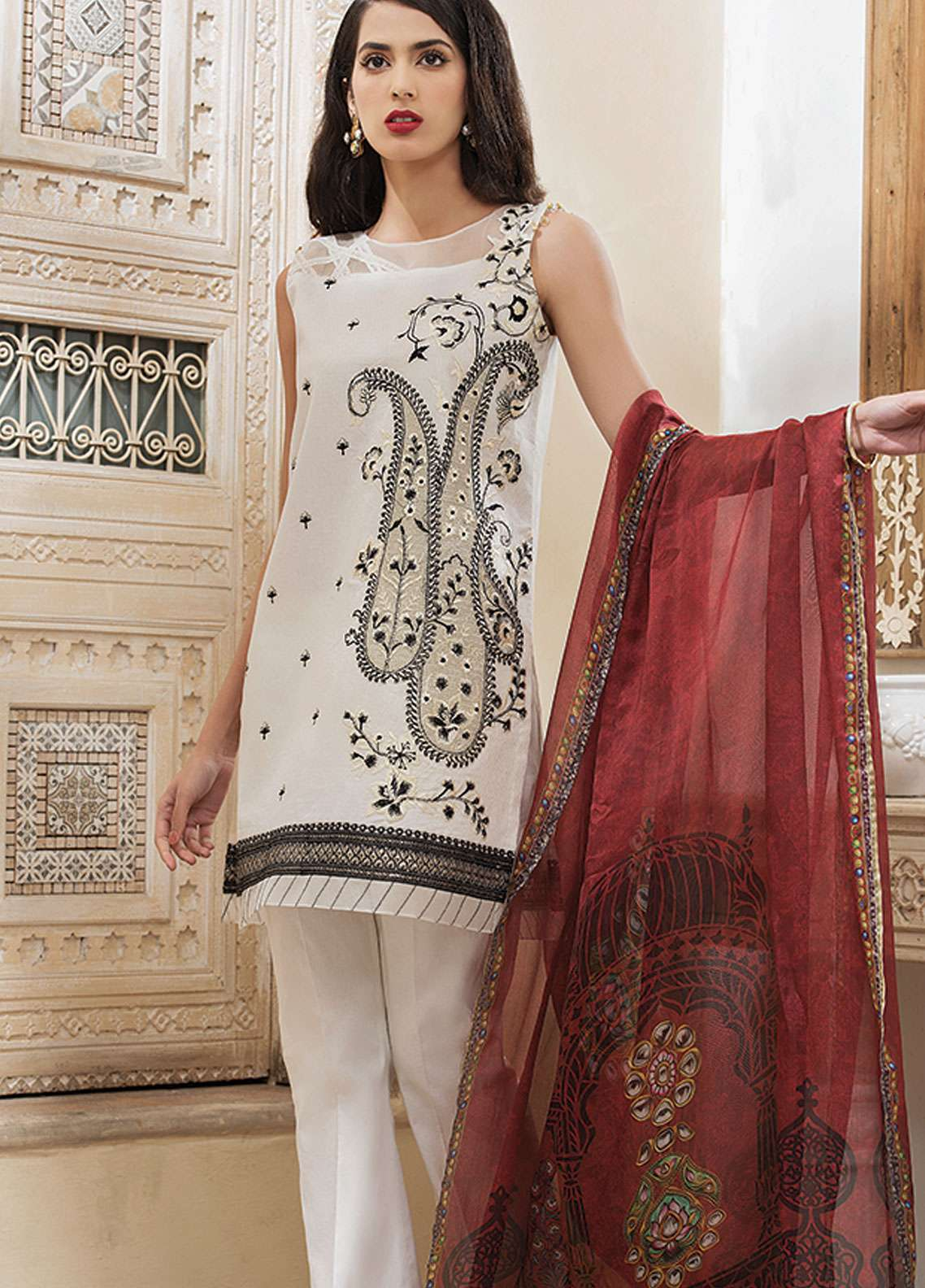 Panache Embroidered Jacquard Unstitched 3 Piece Suit PND19L 8 - Spring / Summer Collection