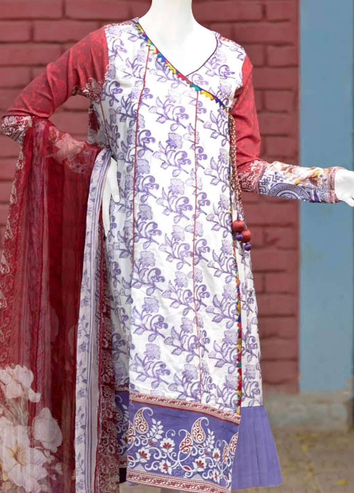 Pearl Closet Embroidered Lawn Unstitched 3 Piece Suit PC19L 19-05 - Spring / Summer Collection
