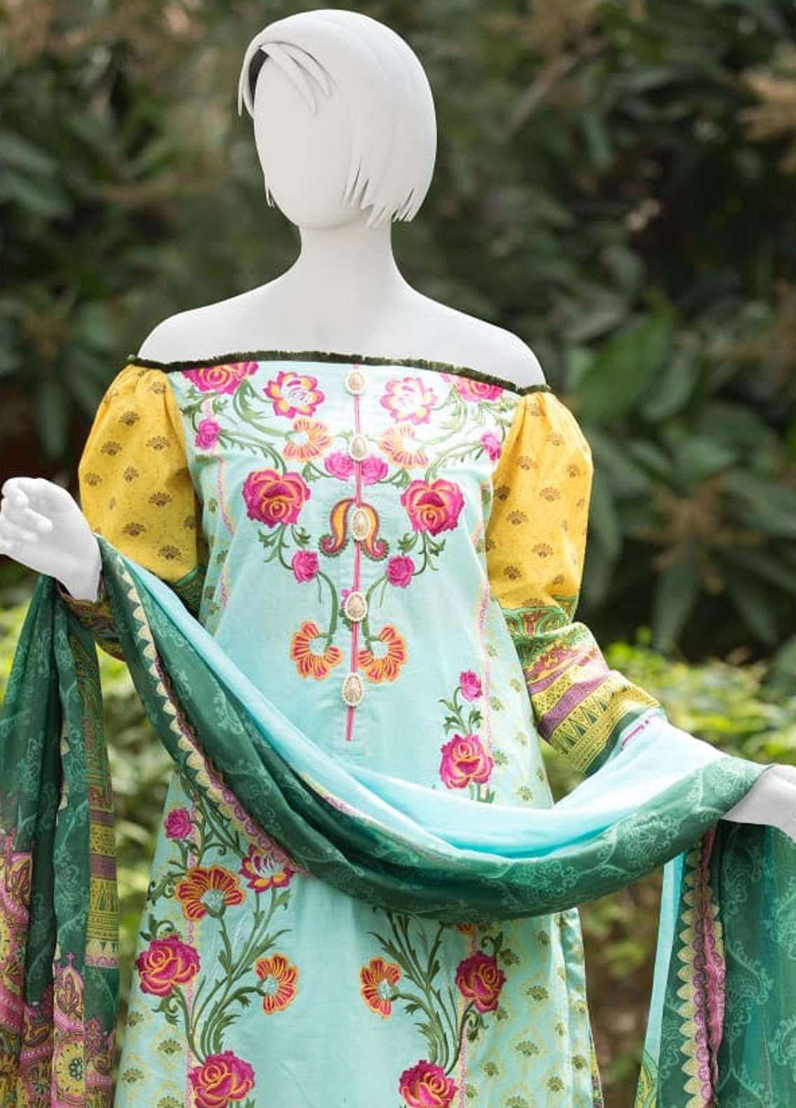 Pearl Closet Embroidered Lawn Unstitched 3 Piece Suit PC19L 19-08 - Spring / Summer Collection