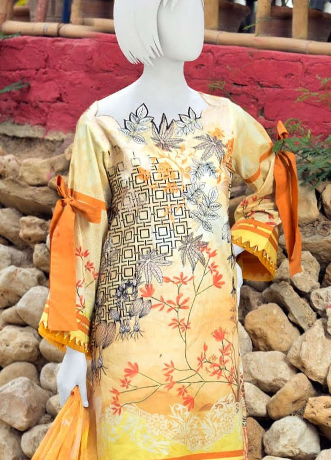 Pearl Closet Embroidered Lawn Unstitched 3 Piece Suit PC19L 19-10 - Spring / Summer Collection