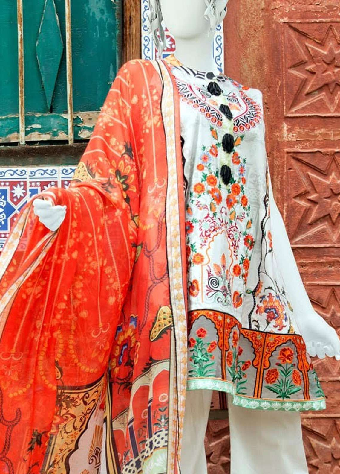Pearl Closet Embroidered Lawn Unstitched 3 Piece Suit PC19L 19-11 - Spring / Summer Collection
