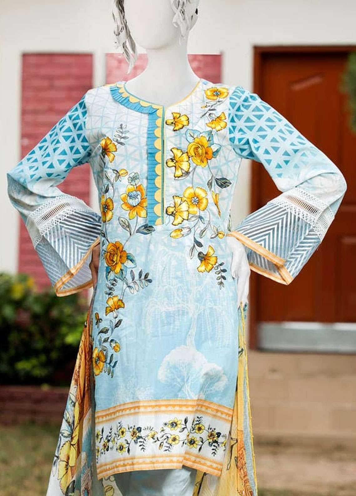 Pearl Closet Embroidered Lawn Unstitched 3 Piece Suit PC19L 19-14 - Spring / Summer Collection
