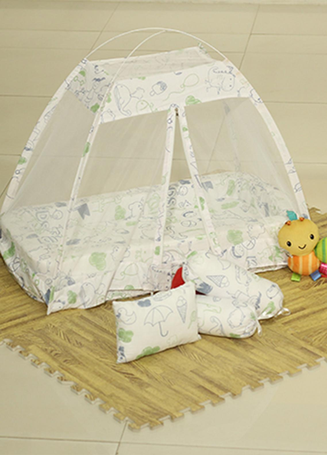 Plush Mink  Fiber Bed Net Set 3 Pieces PEEKABOO Complete Bed Net Set 01 White - Baby Products