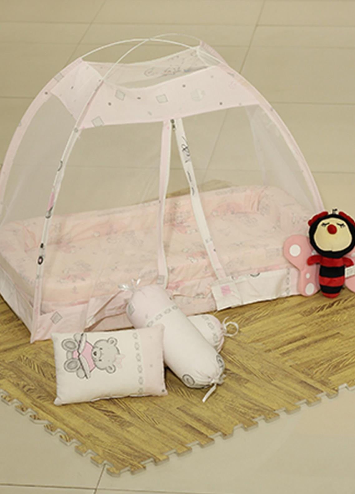 Plush Mink Fiber Bed Net Set 3 Pieces PEEKABOO Complete Bed Net Set 07 Pink - Baby Products