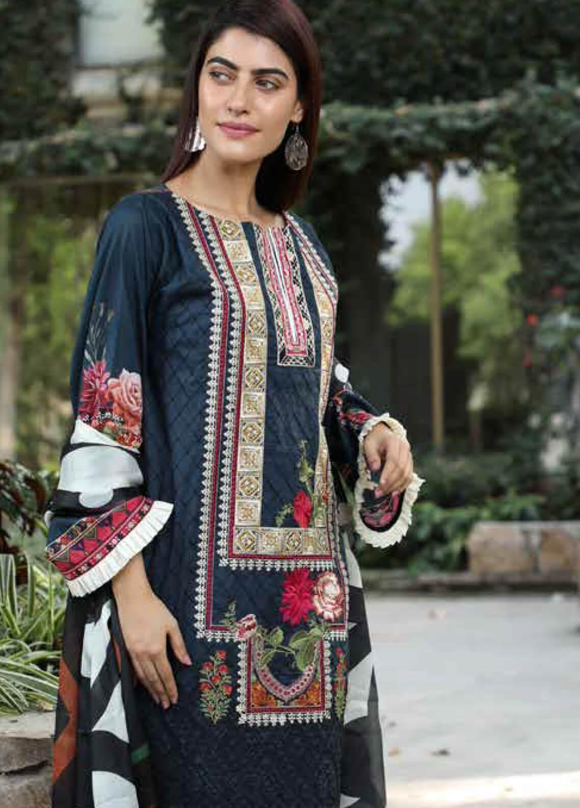 Peridot Embroidered Lawn Unstitched 3 Piece Suit PD19F 1A - Festive Collection