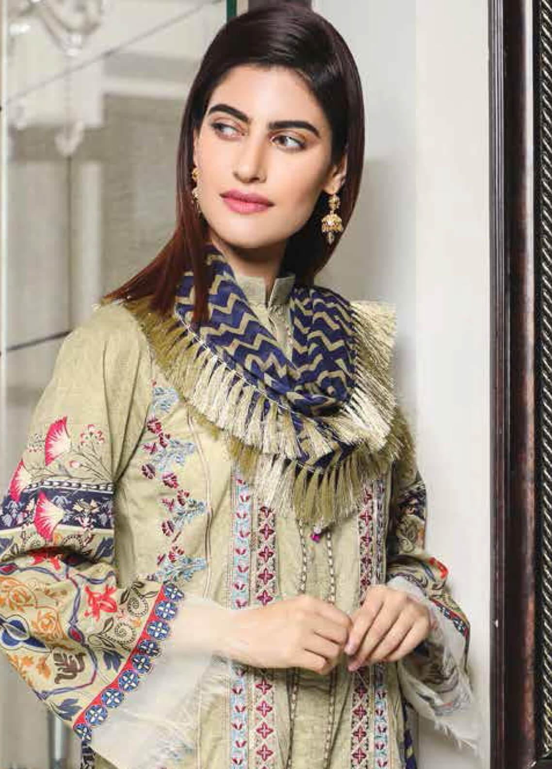 Peridot Embroidered Lawn Unstitched 3 Piece Suit PD19F 2B - Festive Collection